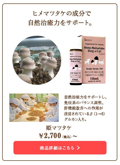 ヒメマツタケの成分で自然治癒力をサポート。