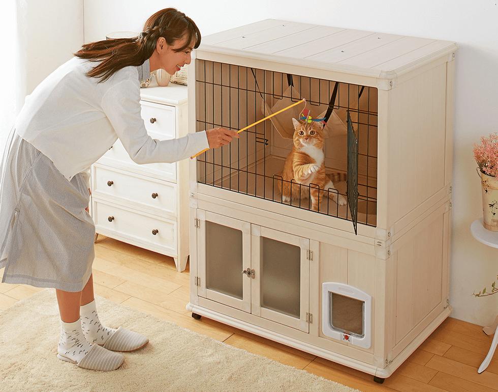 3面が囲まれているから安心。猫の理想が詰まった木調キャットルーム。