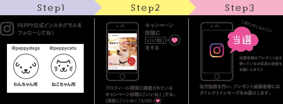 Step1 PEPPYインスタグラムをフォローしてね!@peppydogs わんちゃん用 @peppycats ねこちゃん用 Step2 キャンペーン投稿にいいねをする プロフィール画面に記載されているキャンペーン投稿に「いいね」する。(複数に「いいね」もOK) Step3 毎月抽選を行い、プレゼント当選者様にはダイレクトメッセージをお届けします。おたのしみに!