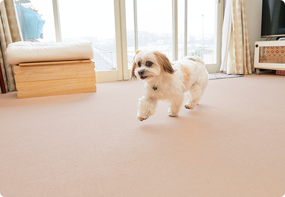 吸着面がとても優秀で、遊び好きなアルが思いっきり走ってもズレないのに床に跡は残らないのがうれしいです。汚れたところだけはがして洗え、すぐに乾くので助かっています。