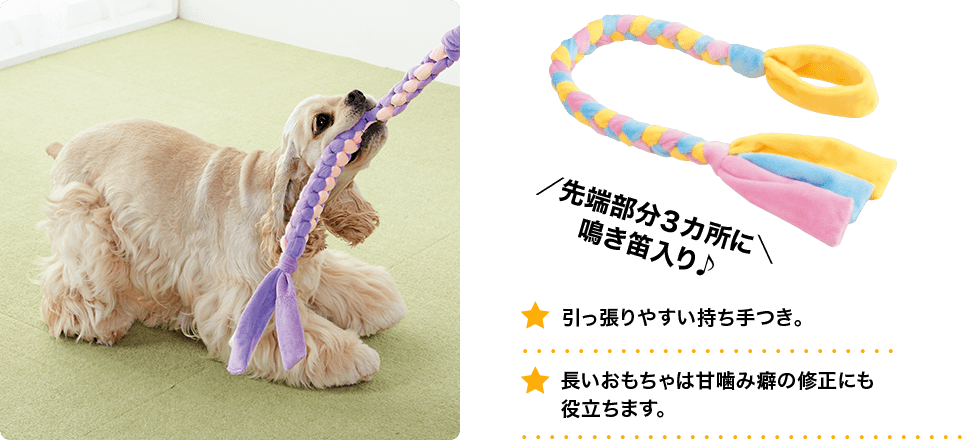 先端部分3か所に鳴き笛入り♪ 引っ張りやすい持ち手つき。 長いおもちゃは甘噛み癖の修正にも役立ちます。