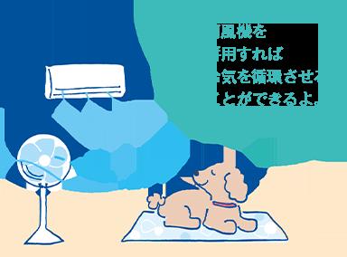 扇風機を併用すれば冷気を循環させることができるよ。
