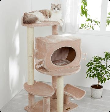 かわいい木製の猫顔ボックス付き。にゃんこ専用プリンセスタワー♪