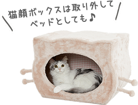 猫顔ボックスは取り外してベッドとしても♪