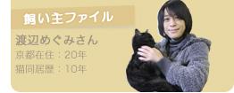 【飼い主ファイル】渡辺めぐみさん ○京都在住:20年 ○猫同居歴:10年