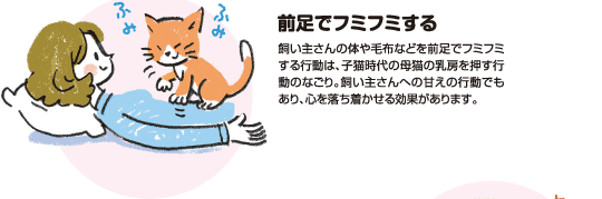 前足でフミフミする|飼い主さんの体や毛布などを前足でフミフミする行動は、子猫時代の母猫の乳房を押す行動のなごり。飼い主さんへの甘えの行動でもあり、心を落ち着かせる効果があります。