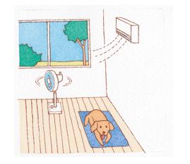 エアコンを使用する。設定温度は26℃前後に。