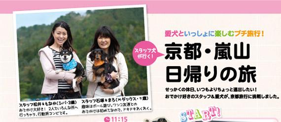 愛犬といっしょに楽しむプチ旅行!スタッフ犬が行く! 京都・嵐山 日帰りの旅