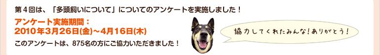 第4回は、「多頭飼いについて」についてのアンケートを実施しました! 【アンケート実施期間:2010年3月26日(金)~4月16日(木)】このアンケートは、875名の方にご協力いただきました!