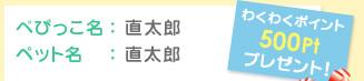 ぺぴっこ名:直太郎 ペット名:直太郎 わくわくポイント500Ptプレゼント!