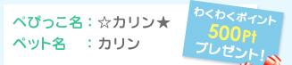 ぺぴっこ名:☆カリン★ ペット名:カリン わくわくポイント500Ptプレゼント!