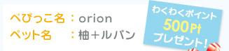 ぺぴっこ名:orion ペット名:柚+ルパン わくわくポイント500Ptプレゼント!