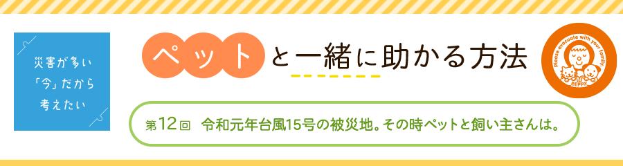 第12回 令和元年台風15号の被災地。その時ペットと飼い主さんは。