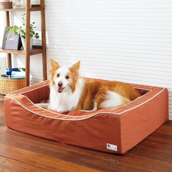スクエアカドラー+クッション・コットン (犬 ベッド セット 小型犬 中型犬 大型犬) オレンジ・SS