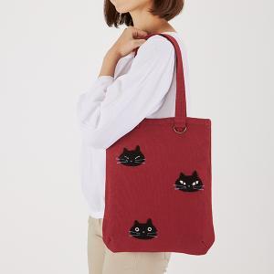 黒猫フェイス 縦型トートバッグ
