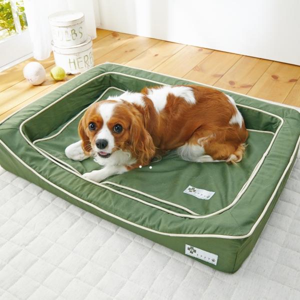 抗菌防臭スマートスクエアベッド・コットン (犬 ベッド セット 小型犬-大型犬) オレンジ・本体・S