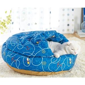 毛が払えるマリンラウンドもぐりふとん (猫 ベッド ひんやり 夏用) ブルー【ペット用品】(ペット用品猫その他)ペット用品  ペットグッズ  ペットフード  ペット  ペピイ  PEPPY  猫用ベッド  犬用/【犬・猫の総合情報サイト『PEPPY(ペピイ)』公式通販】