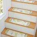 フラワー&シルエット抗菌はっ水階段敷き (犬柄 階段マット)